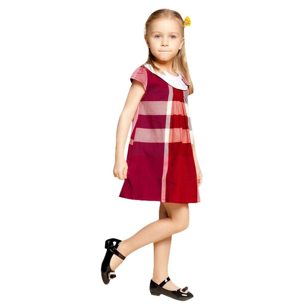 Chic-Chic Kids Girls Summer Tartan Dress Royal Stewart Pleated Dress Princess Bow-Knot Party Mini Dress