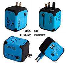 Travel USB Uppel Dual USB All-in-one Worldwide Travel Chargers Adapters for US EU UK AU about 150 countries Wall Universal Power Plug Adapter Charger with Dual USB and Safety Fuse (Blue)