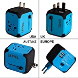Travel USB Uppel Dual USB All-in-one Worldwide Travel Chargers Adapters for US EU UK AU about 150 countries Wall Universal Power Plug Adapter Charger with Dual USB and Safety Fuse(Blue)