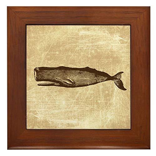 Whale Framed Tile - CafePress Vintage Whale Brown Framed Tile, Decorative Tile Wall Hanging