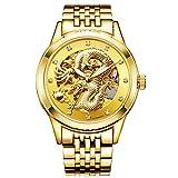 KDJ STORE Luxury Skeleton Automatic Mechanical Wristwatch Dragon Stainless Steel Band Men's Watch