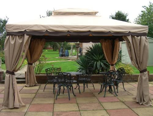 Castmaster Granborough – Cenador de jardín 3 m x 3 m con cortinas y mosquiteras laterales: Amazon.es: Jardín
