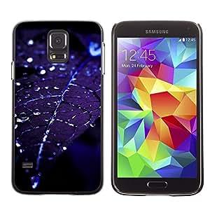 Stuss Case / Funda Carcasa protectora - Leaf Water Droplets Blue Night Moonlight - Samsung Galaxy S5 SM-G900