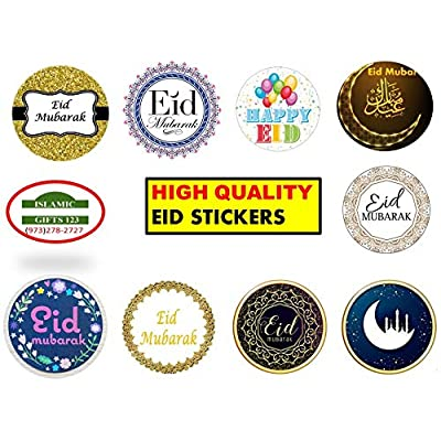 Happy Eid Stickers Set Eid Mubarak+Muslim Holiday Stickers Sheets عيد مبارك Eid Decor Wholesale Islamic Gifts Arab Fanoos ++ Lantern Novelty Ramadan Holy Kabba Quran Muslim Islamic Gifts 123+++ (100): Arts, Crafts & Sewing