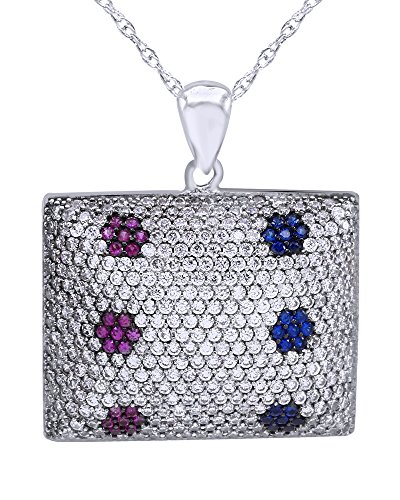 (Wishrocks Round Cut Pink & Blue Sapphire & White CZ Square Cluster Pendant Necklace in Sterling Silver)