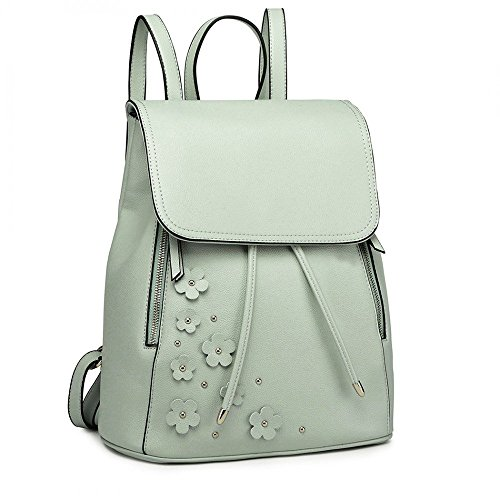 Closure Girls School and Drawstring For Ladies Stylish Green Bag Backpack Acy5Z1cv7