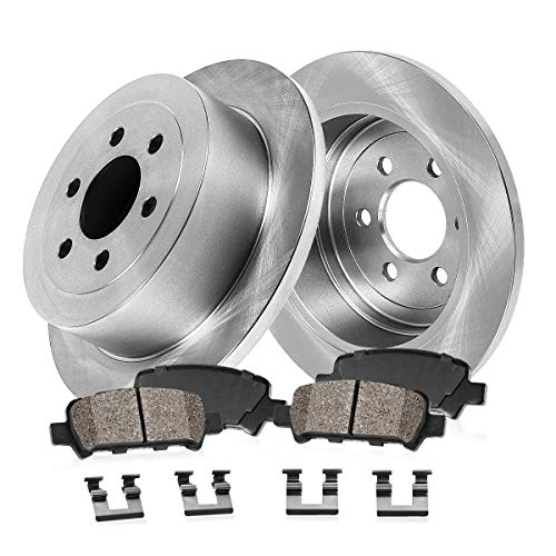 REAR 312 mm Premium OE 6 Lug [2] Brake Disc Rotors + [4] Ceramic Brake Pads + Clips