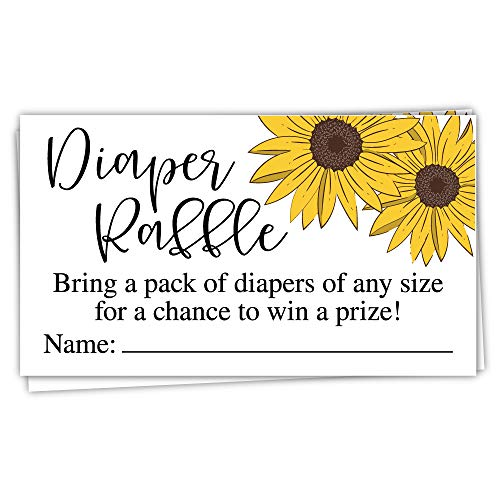 Sunflower Baby Shower - 50 Sunflower Diaper Raffle Tickets -
