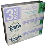 Tom's of Maine Whole Care Toothpaste with Flouride Flavor 4.7 Ounce Tube (Pack of 3