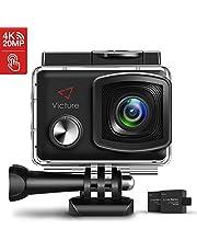 Victure Action Cam 4K 20MP WiFi Touch Screen Ultra Full HD 30 Meters Unterwasserkamera Einstellbare 170°Fischaugen-Linse EIS Sports Kamera 2×1350mAh Ersatzbatterien and Halterungs-Kit …
