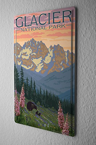 Tin Sign Holiday Travel Agency Glacier National Park by LEOTIE