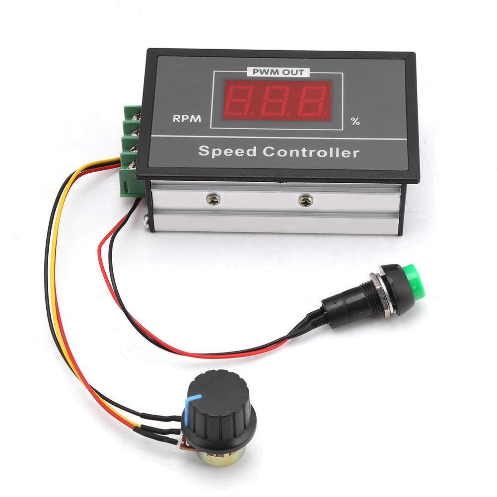 RUIZHI Controlador de velocidad del motor de CC DC 6-60V 12V 24V 36V 48V 30A PWM, controlador de velocidad del motor con interruptor de arranque y parada