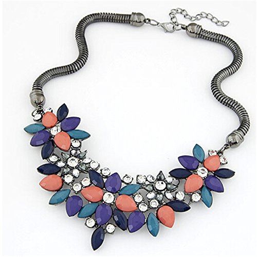 Better Annie designer New sell Fashion Retro style Colorful gem rhinestone flower choker necklace Statement jewelry women Colors