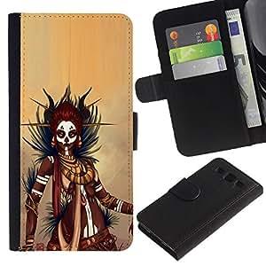 KLONGSHOP // Tirón de la caja Cartera de cuero con ranuras para tarjetas - Negro guerrero de la mujer - Samsung Galaxy S3 III I9300 //
