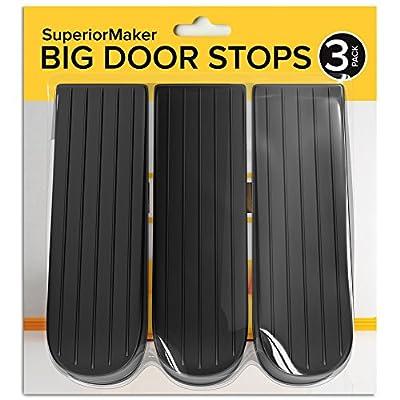Door Closer, Secure Door Stopper Tips, Security Door Wedge, Large Rubber Door Stops, Black (3 Pack) - SuperiorMaker
