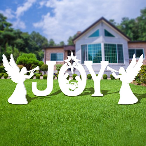 UNOMOR Outdoor Nativity Scene, Christmas Joy Yard Nativity Set With Holy Family and Two Angels (Christmas Set Nativity Family)