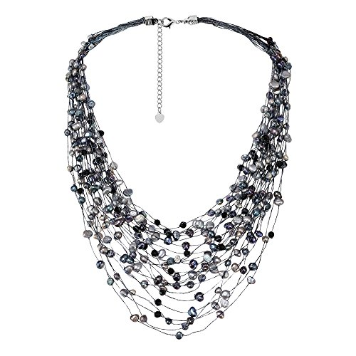 Silk Bib Handmade - AeraVida Cultured Freshwater Pearl & Fashion Crystal Silk Layered Multi Strand Necklace