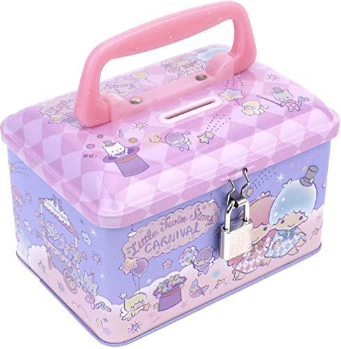 Ellon Little Twin Stars Tin Coin Money Bank Storage Box with Lock & Handle ()