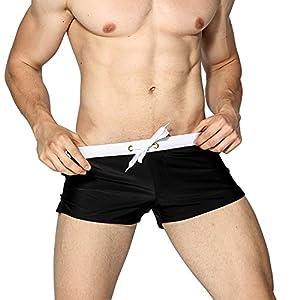 "Sasairy Mens Swim Trunks Pants Swimwear Shorts Slim Wear Front Tie with Pocket at Back Side, Black Asian L/US M(Waist:31.89""-34.64"")"