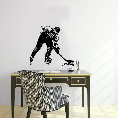 Housewares Wall Vinyl Decal Sport Sportsmen Playing Hockey Shaft Putter Home Art Decor Kids Nursery Removable Stylish Sticker Mural Unique Design for Any Room