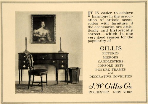 1919 Ad J W Gillis Furniture Decorative Art Accessory - Original Print Ad from PeriodPaper LLC-Collectible Original Print Archive