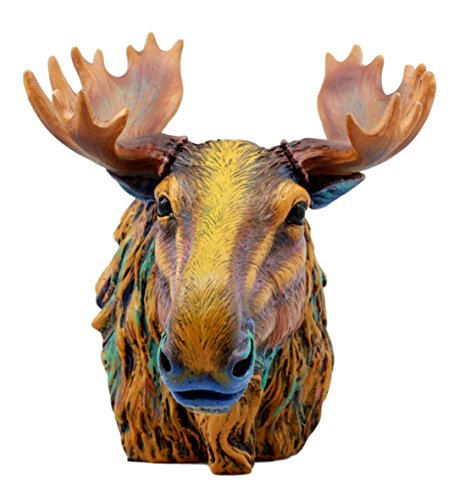 Atlantic Collectibles Wild & Free Colorful The Emperor Moose Bust Figurine 7.5