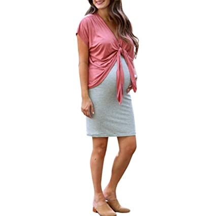 60a4c9daa8616 Amazon.com: Toponly 2PC Maternity Dress Suit,Women Loose Short Sleeve  Bandage Strppy Pregnant Cardigan Tops+Camisole Midi Dress Skirt: Toys &  Games