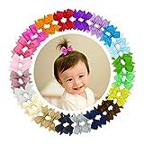 Ruyaa 40pcs Tiny 2' Pinwheel Hair Bows Alligator Clips for Baby Gilrs Toddlers Kids