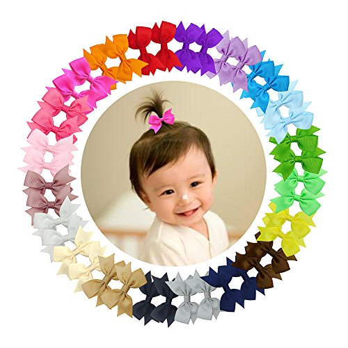 Ruyaa 40pcs Tiny 2quot Pinwheel Hair Bows Alligator Clips for Baby Gilrs Toddlers Kids