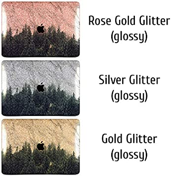 Cavka Hard Glitter Case for Apple MacBook Pro 13 2019 Retina 15 Mac Air 11 Mac 12 Bling Horse Silver Shiny Cover Glossy Design Misty Forest Tree White Abstract Nice Sparkly Animal Rose Gold Print