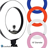 LimoStudio 18 inch Fluorescent 5500K Dimmable Ring Light and Portrait Lightwith 4-Color Ring Light Diffuser Cloth (White, Orange, Pink, Blue) for Soft Light, Warm to Cool Colors, AGG2329V2