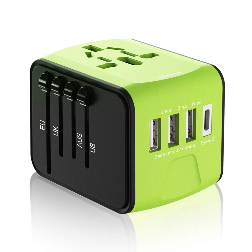 Travel Plug Adapter, Universal Travel Adapter, Travel Power Plug Adapter, International Power Adapter 3.4A 3 USB & 1 Type-C UK, EU, US, AUS More 170 Countries (Green)