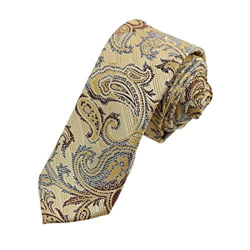 DAE7B17C Light Yellow Brown Paisley Microfiber Skinny Tie Young Gentlemen Thin Tie By Dan Smith