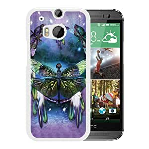 Fashionable And Unique Designed Cover Case With dragonfly ART White For HTC ONE M8 Phone Case