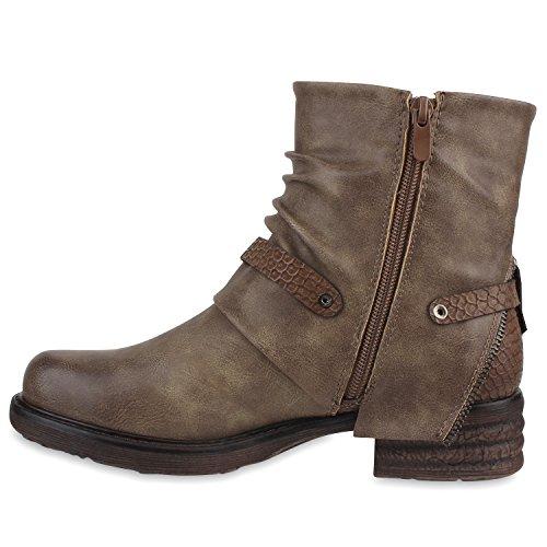 Stiefelparadies Damen Biker Boots Stiefeletten Prints Profil Sohle Block Absatz Flandell Khaki Zipper