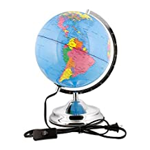 10 Inch (25cm) Illuminated Blue Ocean Desktop World Earth Globe by TCP Global