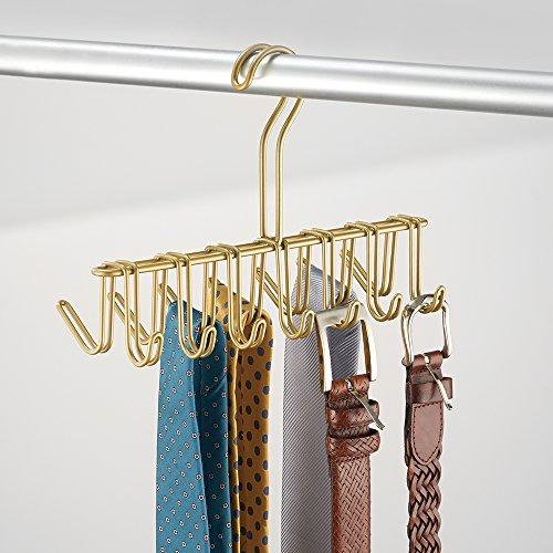 InterDesign Classico Closet Organizer Rack for Ties, Belts - 14 Hooks, Pearl Gold
