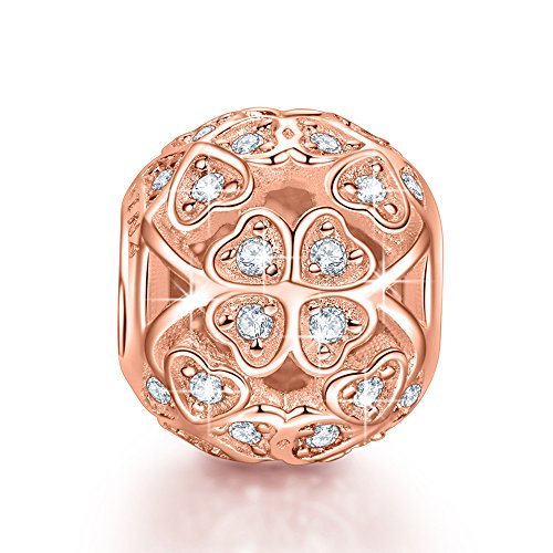 (NinaQueen 925 Sterling Silver Lucky Clover Rose Gold Plated Charms for European Pandöra Bracelets Pendant&Chocker Necklaces Birthday Anniversary Christmas Gifts For Mommy Women Wife Sister Girlfriend)