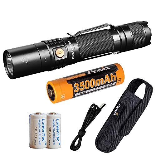 Fenix UC35 V2.0 2018 Upgrade 1000 Lumen Rechargeable Tactical Flashlight 3500mAh Battery and 2X Lumen Tactical CR123A Backup Batteries