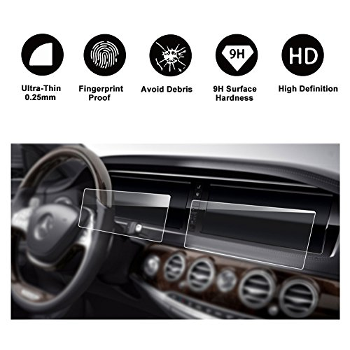 [2 PCS] 2014-2017 Mercedes-Benz S Class W222 12.3-Inch Display Touch Screen Car Display Navigation Screen Protector, R RUIYA HD Clear Tempered Glass Protective Film (2014-2017 Benz S Class)