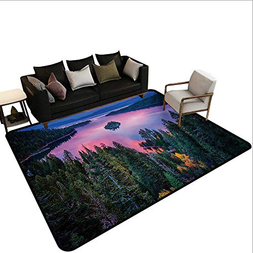 Non-Slip Floor mat,High Angle Majestic View of North American Freshwater Lake Outdoor Mother Earth Image 6'x7',Can be Used for Floor Decoration]()