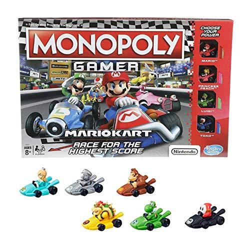 Bundle - Monopoly Gamer Mario Kart Board Game and Complete Set - All 6 (Six) Monopoly Gamer Mario Kart Power Pack Pieces