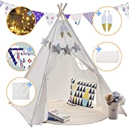 Teepee Play Tent for Kids with Gifts Floor Mat & Star Lights &Coloured Flag &Feathers &Carry C