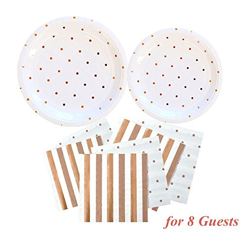 OFACL Glittering Paper Disposable Plates Dinnerware Set Round Plates and Napkins Tableware Set Paper Food Tray for Party Festivals Picnics Wedding Theme Birthday Decorations,Rose Gold Dot,36 ()