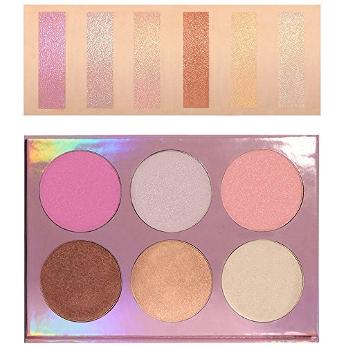 Beshine Face Matte Powder Contour Bronzer Highlighter Palette Trimming Powder Bronzer Face Contour Grooming Pressed Powder (6-Color)