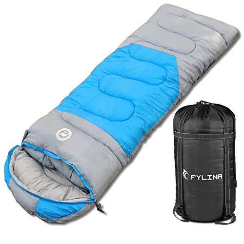 COULAX FYLINA Sleeping Bag with Compression Bag, Envelope Water Resistant Portable Cool Weather Sleeping Bag For Hiking, Backpacking, Camping Traveling Fit for 3 Season
