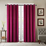 SeeSaw Home Supersoft Solid Grommet/Eyelet Top Thermal Insulated Eco-friendly Heavy Velvet Window Curtain Drapes, Red, 50W By 84L inch,1 panel