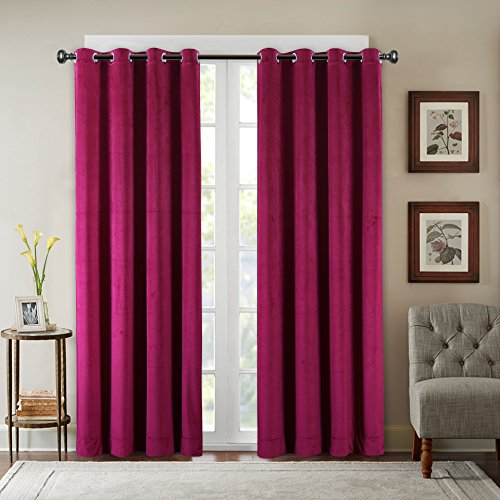 Velvet Eyelet - SeeSaw Home Supersoft Solid Grommet/Eyelet Top Thermal Insulated Eco-Friendly Heavy Velvet Window Curtain Drapes, Red, 50W by 84L inch,1 Panel