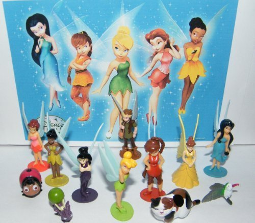 Disney Fairies with Tinkerbell Deluxe Mini Figure Set Toy Play Set with Animals, a Boy Fairy and More!