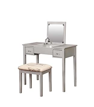 Amazon.com: Linon Butterfly 2 Piece Bedroom Vanity Set in Silver ...